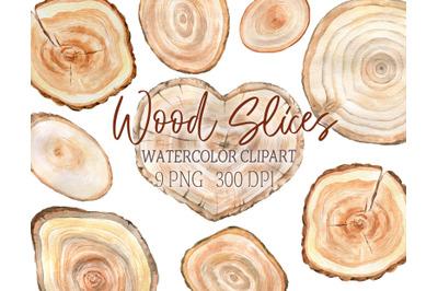 Watercolor Wood Slice Clipart Rustic Sign Slices Clip Art Rustic Tree