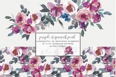 Purple & Spanish Pink Floral Bouquet Clipart Watercolor
