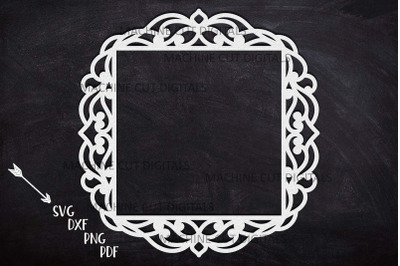 Square Frame with swirls cut out laser cut svg dxf template