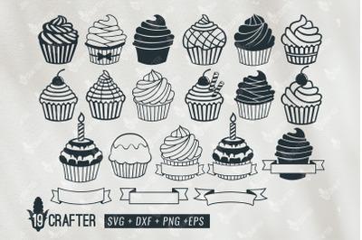 cupcake birthday name banner svg bundle