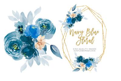 Navy Blue Watercolor Flowers Clipart, Navy Peonies Clip art