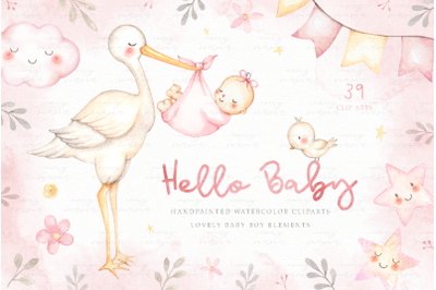 Hello Baby Pink Watercolor Clip Arts