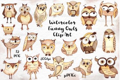 Watercolor funny owls ClipArt,Watercolour Owl clip art, cute Owl