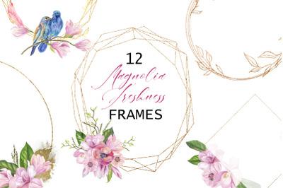 Magnolia. Watercolor frame clipart