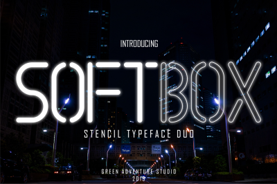 SOFTBOX - STENCIL TYPEFACE FONT DUO