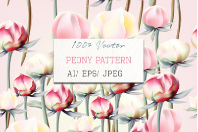 Floral pattern with pink and white peony flowers in vintage style