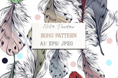 Boho tribal fashion illustration with feathers