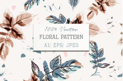 Floral vector flower pattern with watercolor leaves