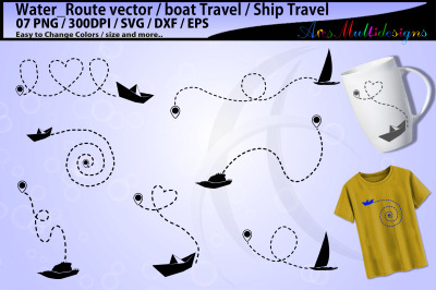 Boat travel SVG / boat route svg / boat silhouette / boat dotted line