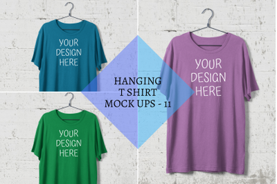 Hanging T-shirt Mock Ups|Steel Hanger|White Wall Background - PNG