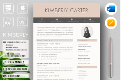 Student, New Graduate Resume, CV. Modern CV and Cover Letter with Tips