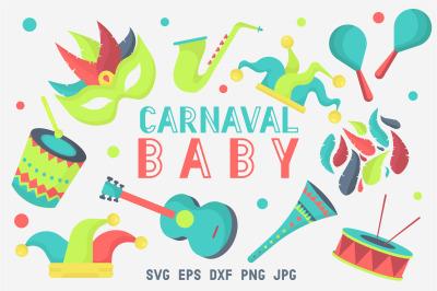 Carnaval baby - Mardi Gras set