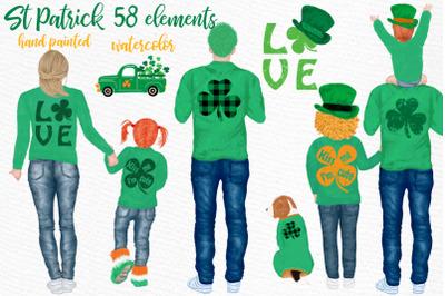 St Patricks Day Clipart, Irish Family ,Clover Lucky Charm