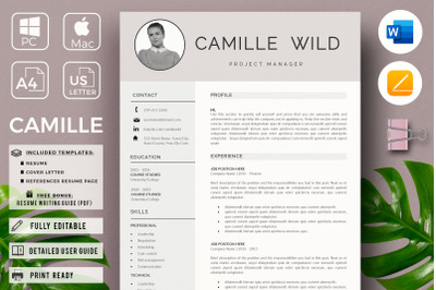 Professional CV Template for Project Managers. 1 & 2 Page Resume