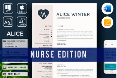 RN Nurse Resume Template with References and Cover Letter