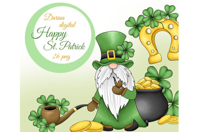 St. Patrick gnomes clipart