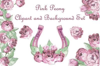 Pink Peony watercolour clipart set with free backgrounds