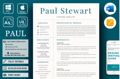 Professional Cover Letter and 2 Column Resume with references page.