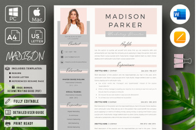 Marketing Director Resume.  Creative & Modern CV + Free bonus bundle