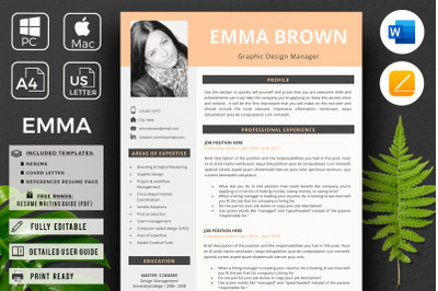 CV, Modern Resume with Photo + References + Resume Writing Tips