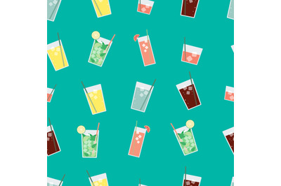 Summer drinks, cocktails seamless repeating pattern