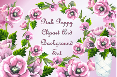 Pink Poppy Clipart set with free backgrounds CU