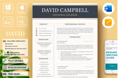 Modern Resume for Engineers + Cover Letter for Microsoft Word & Pages