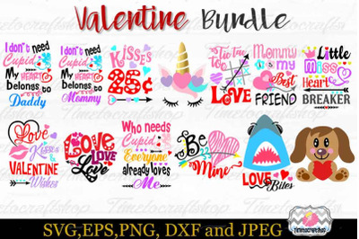 SVG, Dxf, Eps & Png Valentine Bundle, Hug Me, Cupid, Kisses, Valentine