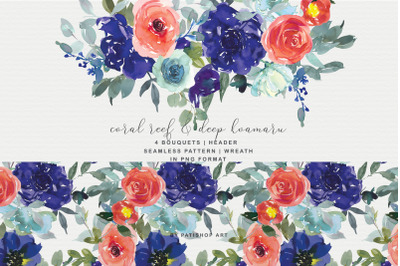 Coral Reef and Deep Koamaru Floral Bouquet Clipart