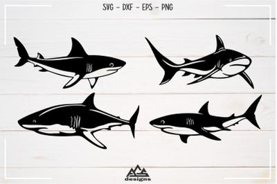 Sharks Sillhoutte Packs Svg Design