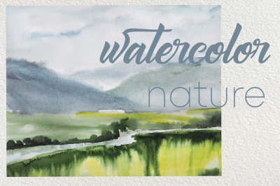watercolor landscape with river and mountains