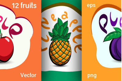 Set of fruit illustrations for stickers, labels and more