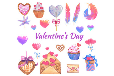 Valentines day watercolor clipart. watercolor set with hearts
