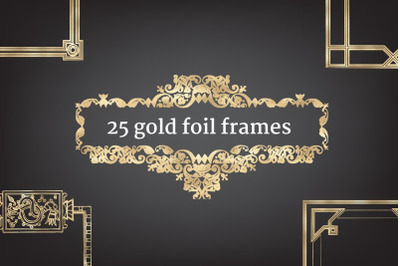 25 Gold foil frames clip arts, Elegant calligraphic frames, Decorative gold foil elements, Wedding invitation cliparts