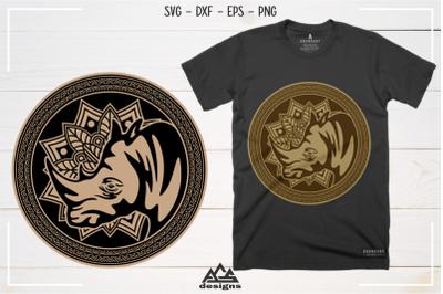 Rhino - Rhinoceros Mandala Art Svg Design