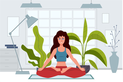 Yoga characters. Woman does exercises warming up and stretching at hom