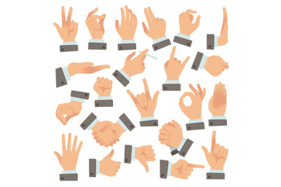 Gestures of businessman. Success people palms and hands, communication