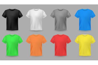 Color t-shirt mockups. Design colorful textile fabric apparel for men
