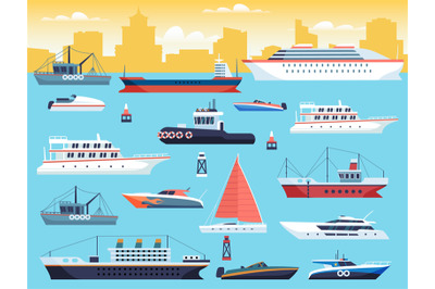 Maritime transport. Shipping dock with big sea or ocean vessel and sai