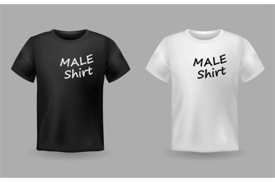 Shirt realistic. Textile realistic male black and white t-shirts with