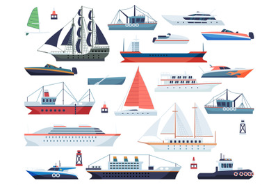 Sea ships. Fishing boat and big vessel for ocean travel on white backg
