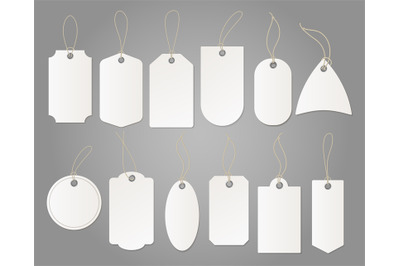 Craft tags. Hanging shop white label from paper different shapes with