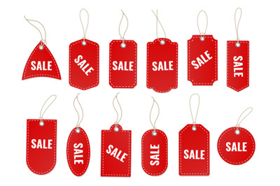 Sale craft labels. Blank red special old paper carton tag with rope an