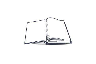 Open book. Small creative black logo of opened top studying page witho
