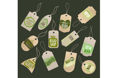 Food store labels. Paper tags with logo of healthy fresh organic fruit