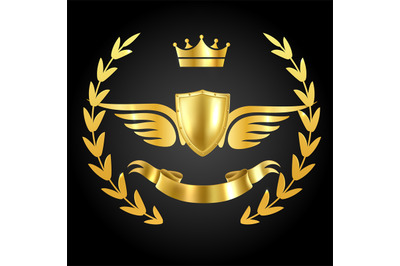 Luxury award with wings. Luxurious symbol of champion on dark backgrou