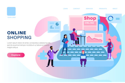 Online shop page. Store media modern design with shopping man and woma