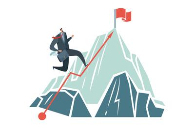 Business achievement. Success ambition businessman climbing path to to