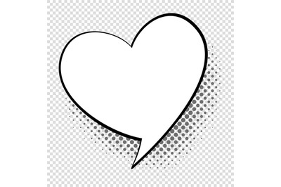 Comic speech heart. Cartoon talking and thought about love bubble. Ret