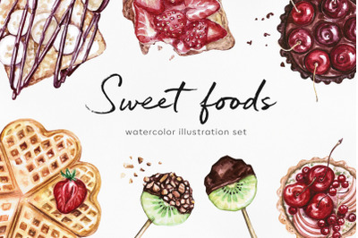 Watercolor food set illustrations. Sweet foods.